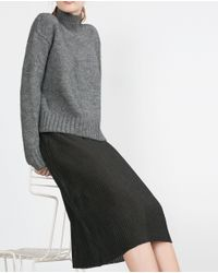Zara | Gray Accordion Pleat Skirt | Lyst