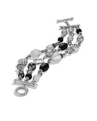 David Yurman - Metallic Bead Three-row Bracelet - Lyst