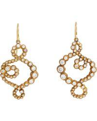 Judy Geib - Metallic Diamond, Gold & Oxidized Silver Swoosh Earrings - Lyst