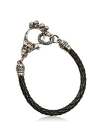John Richmond | Metallic Skulls Braided Leather Bracelet | Lyst