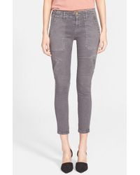 Current/Elliott - Gray 'The Conductor' Skinny Crop Jeans - Lyst