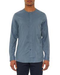 Façonnable - Blue Collarless Silk Shirt for Men - Lyst
