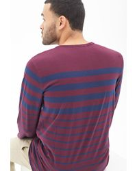 Forever 21 - Purple Graduating Striped Crew Neck for Men - Lyst
