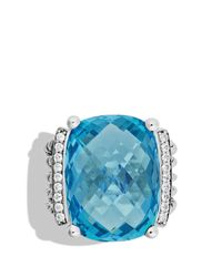 David Yurman | Metallic Wheaton Ring With Blue Topaz And Diamonds | Lyst