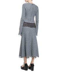 Derek Lam - Blue Long-sleeve Crochet Top W/fringe Hem - Lyst