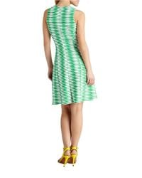 Donna Morgan | Green Geo Stripe Fit And Flare Dress | Lyst