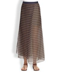 Brunello Cucinelli | Silk Striped Skirt | Lyst