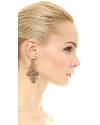 Oscar de la Renta - Metallic Crystal Flower Clip On Earrings - Lyst
