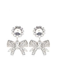 Miu Miu - Gray Crystalembellished Clipon Earrings - Lyst
