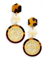 Tory Burch | Brown Drop Earrings - Cabernet/ Tortoise/ Shiny Gold | Lyst