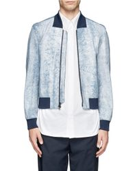 3.1 Phillip Lim | Blue Cracked Leather Bomber Jacket for Men | Lyst