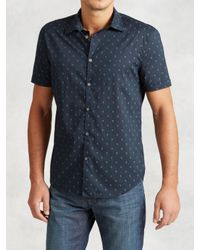 John Varvatos | Blue Cotton Skull Print Shirt for Men | Lyst