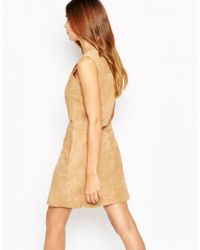 Warehouse - Natural Suede Shift Dress - Lyst