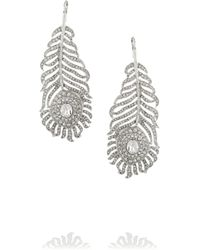 Kenneth Jay Lane | Metallic Rhodium-Plated Swarovski Crystal Earrings | Lyst