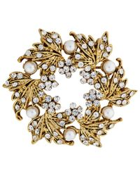 John Lewis - Metallic Vintage Gold Plated Glass Stone Wreath Brooch - Lyst