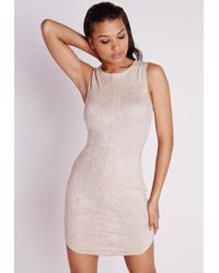 Missguided - Natural Sleeveless Suede Curve Hem Bodycon Dress Nude - Lyst
