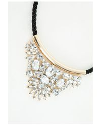 Missguided | Hillia Rope Crystal Detail Collar Necklace Black | Lyst