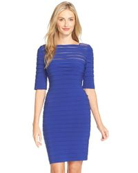 Adrianna Papell | Blue Pleated Illusion Sheath Dress | Lyst