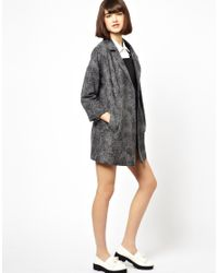 Helene Berman | Gray Classic Car Coat in Textured Wool Mix | Lyst