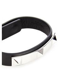 Valentino | Black Pyramid-Stud Leather Bracelet for Men | Lyst