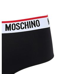 Moschino | Black Logo Trim Microfiber Hipster Brief for Men | Lyst