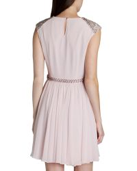 Ted Baker | Pink Beaded Detail Dress | Lyst
