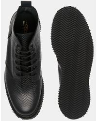 ASOS | Black Derby Boots In Leather With Snakeskin Effect Made In England for Men | Lyst