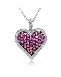 Amanda Rose Collection - Metallic 1ct Tw Created Pink Sapphire Heart Pendant-necklace In Sterling Silver - Lyst
