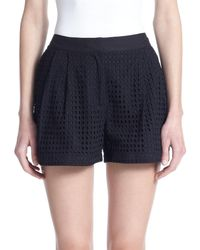 3.1 Phillip Lim - Black Cotton Eyelet Shorts - Lyst