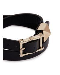 Valentino - Black Single 'rockstud' Leather Bracelet - Lyst