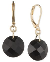 Anne Klein | Gold-tone Black Crystal Drop Earrings | Lyst