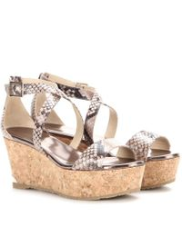 Jimmy Choo - Natural Portia Printed Leather Wedge Sandals - Lyst