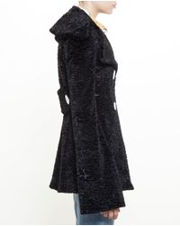Awake - Black Faux Fur Gomez Coat - Lyst