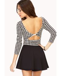 Forever 21 | White Geo Darling Cutout Crop Top | Lyst