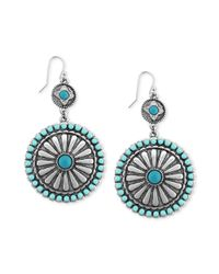 Jessica Simpson - Metallic Rhodiumplated Turquoisecolored Stone Double Drop Disk Earrings - Lyst