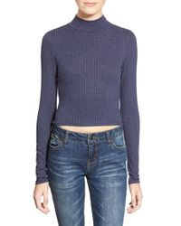 Soprano | Blue Long Sleeve Mock Neck Top | Lyst