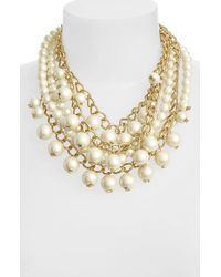 kate spade new york | Natural 'purely Pearl' Faux Pearl Statement Necklace - Cream | Lyst
