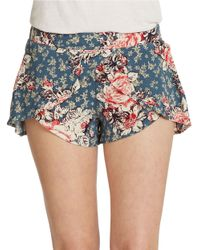 Free People | Blue Scarf Printed Shorts | Lyst