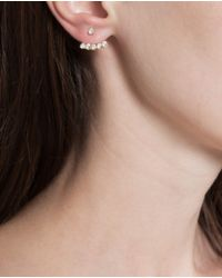 Yvonne Léon - Metallic 18k Gold And White Diamond Stud Earring - Lyst