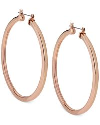 Steve Madden | Metallic Rose Gold-Tone Hoop Earrings | Lyst