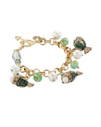 Betsey Johnson | Multicolor Into The Blue Fish Charm Bracelet | Lyst