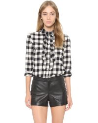 RED Valentino | Black Check Cotton Flannel Shirt | Lyst