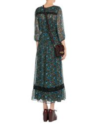 Anna Sui - Green Printed Silk Maxi Dress - Florals - Lyst