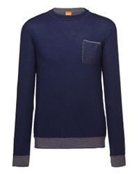 BOSS Orange - Blue Cotton Sweater 'kobbel' for Men - Lyst