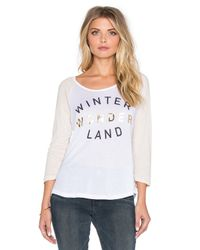 Sundry | White Winter Wonderland Baseball Tee | Lyst