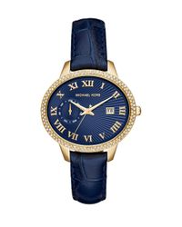 Michael Kors - Whitley Pavé Goldtone Stainless Steel & Crocodile-embossed Leather Strap Watch/blue - Lyst