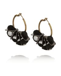Lanvin | Black Gold-Tone Faux Pearl Earrings | Lyst
