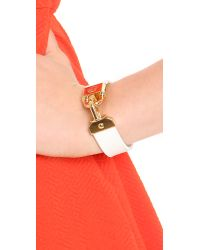 Tory Burch - White Lock Closure Bracelet - Lyst