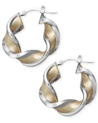 Macy's | Metallic 14k Gold And White Gold Earrings, Medium Twisted Hoop Earrings | Lyst
