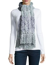UGG - Blue Grand Meadow Cable Fringe Scarf - Lyst